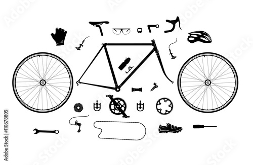 Foto  Road bicycle parts and accessories silhouette set, elements for infographic, etc