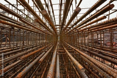 Fényképezés  Steel rebar perspective