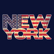 American flag and 'New York' typography. Label for t-shirt. CMYK colors