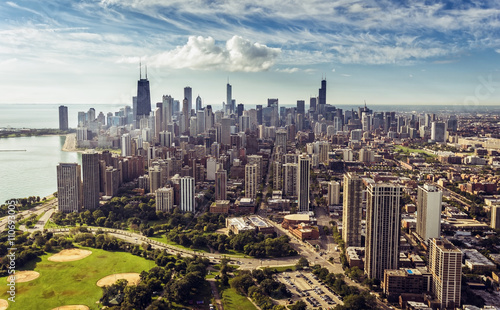 Poster Chicago Chicago Downtown Skyline aerial view