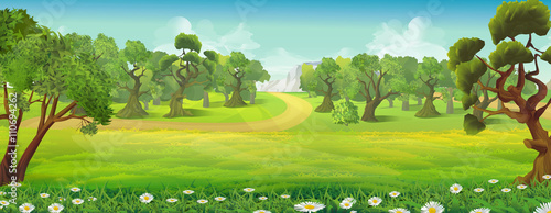 Garden Poster Pistachio Meadow and forest nature landscape, vector background
