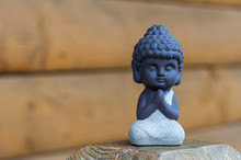 Little Buddha Statue Image Used As Amulets Of Buddhism Religion. Meditation Concept With Empty Space For Text