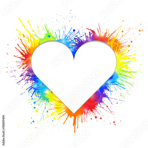 Tuinposter Vormen Heart shaped white cutout for text in rainbow paint splashes background. Vector illustration.