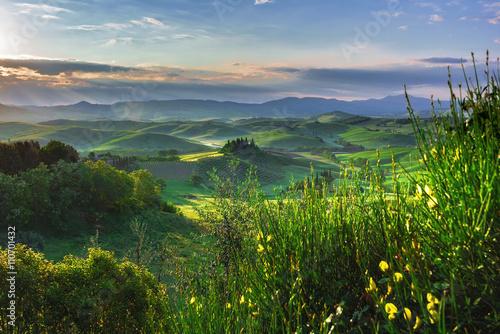 Tuscan hills and spring landscape.