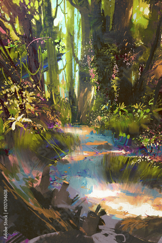 Printed kitchen splashbacks Purple path in beautiful green forest in summer,landscape painting