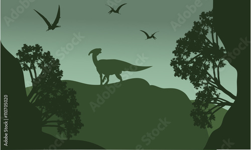 Silhouatte of parasaurolophus and pterodactyl Canvas Print