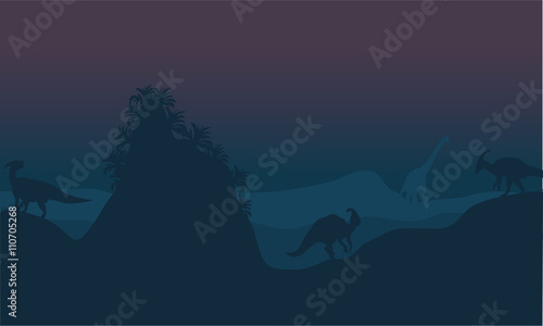 Beautiful scenery of parasaurolophus silhouette Wallpaper Mural