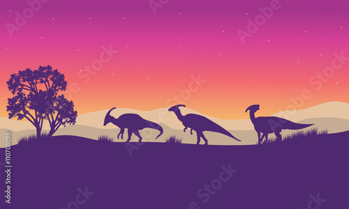 Photo Silhouette of parasaurolophus lined