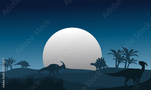 Silhouette of stegosaurus and parasaurolophus Canvas Print