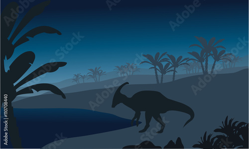 Silhouette of single parasaurolophus Canvas Print