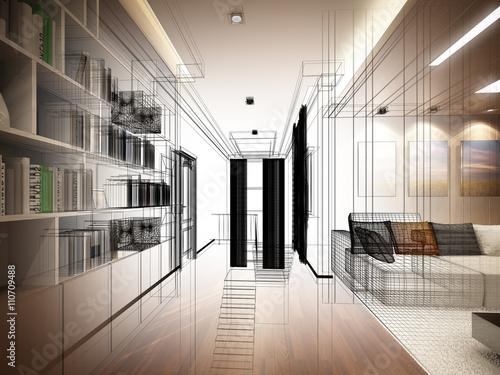 Fototapeta sketch design of living room ,3dwire frame render obraz na płótnie