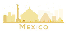 Mexico City Skyline Golden Sil...