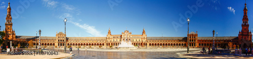SEVILLA, SPAIN - OCTOBER 16,2012 : Panorama view of Plaza Espana