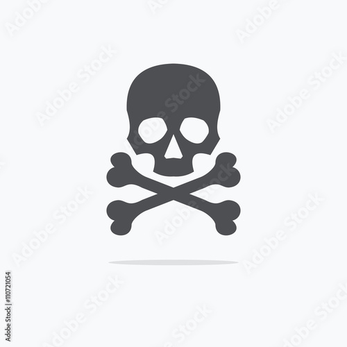 Photo  Crossbones and skull death flat icon. Vector illustration.