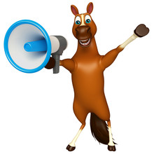 Cute Horse Cartoon Character With Loud Speaker