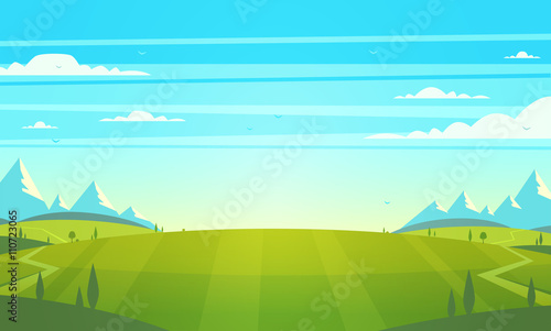 Garden Poster Pool Natural landscape. Vector illustration.