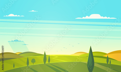 Fotobehang Turkoois Valley landscape. Vector illustration.