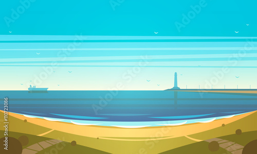 Photo Stands Turquoise Seashore. Vector illustration.