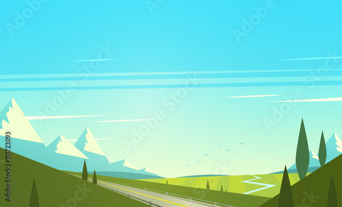 Fotobehang Turkoois Natural landscape with mountains. Vector illustration.