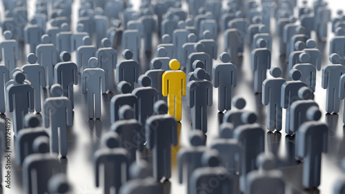 Fotografía  Man differs from the crowd, 3d illustration
