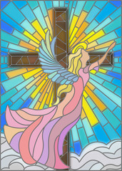 NaklejkaIllustration in stained glass style with an angel on the background of the cross ,sky and clouds