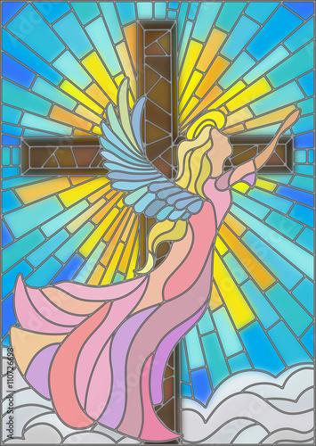 ilustracja-w-stylu-witrazu-z-aniolem-na-tle-krzyza-nieba-i-chmur