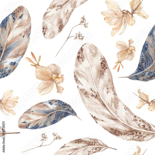 Cotton fabric Fall Watercolor Pattern with Feathers