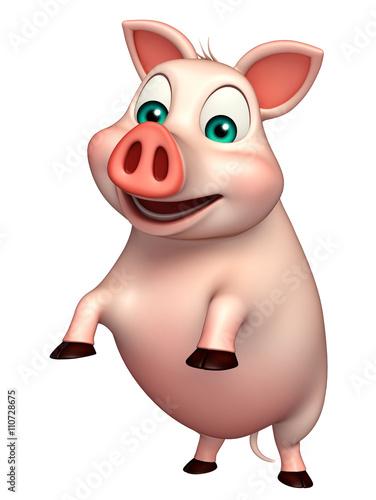 fun  Pig cartoon character Fototapet