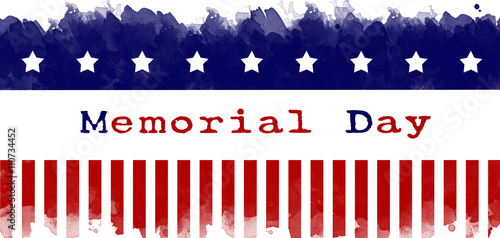Fotografía  memorial day greeting card american flag grunge background