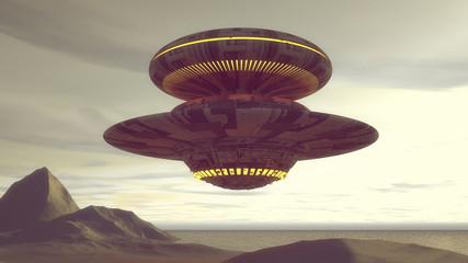Fototapeta Fantasy 3d render. Futuristic spaceship UFO