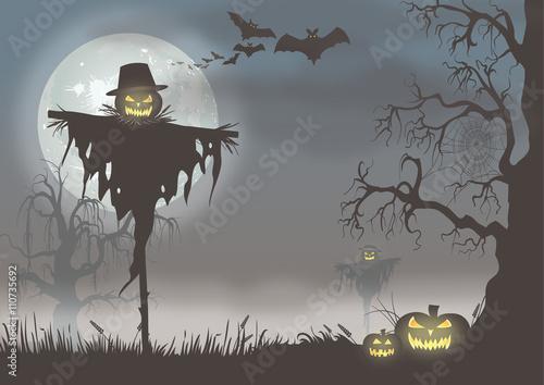Spoed Fotobehang Halloween Creepy halloween scene with scarecrows and pumpkins.