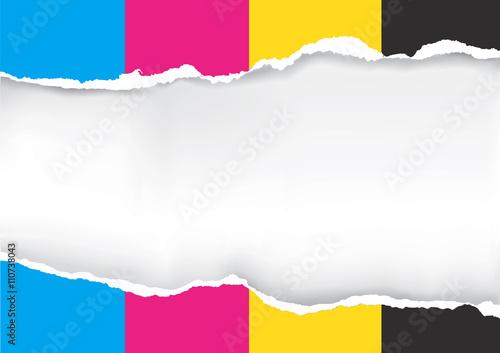 Ripped paper with print colors Slika na platnu