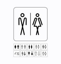 Toilet Sign Door/wall Plate. Original WC Icons Set.