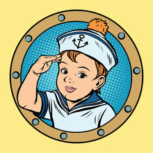 Child Sailor Ship Kids Game Retro Vector