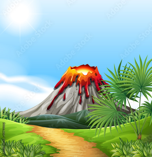Staande foto Kids Scene with volcano eruption