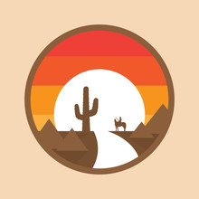 Cowboy On A Horse In The Desert, Cactus, Sunset. Vector Illustration Of Round Background