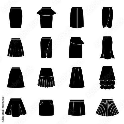 Set of black skirts, vector illustration Wall mural