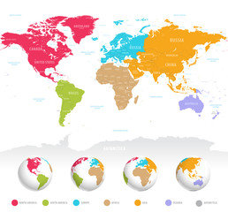 Fototapeta na wymiar Colorful vector World Map