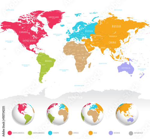 Recess Fitting World Map Colorful vector World Map