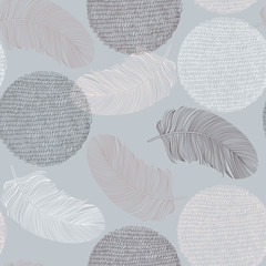 FototapetaSeamless pattern with hand-drawn feathers and circles.