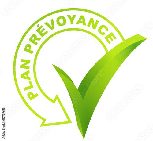 Vászonkép plan prévoyance sur symbole validé vert