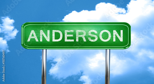 anderson vintage green road sign with highlights Canvas Print