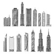 city. hand-drawn sketch skyscrapers. vector illustration