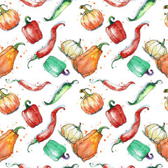 Fototapeta Warzywa Seamless pattern with vegetables: pumpkin, paprika, pepper. Hand drawing watercolor. Stroke is made with ink.