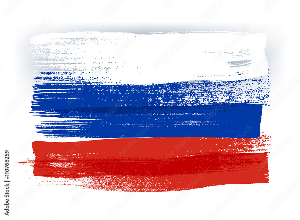 Fototapety, obrazy: Russia colorful brush strokes painted flag.