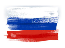 Russia Colorful Brush Strokes Painted Flag.