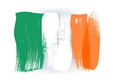 Ireland Colorful Brush Strokes Painted Flag.