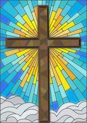 Fototapeta Religia i Kultura Illustration in stained glass style to cross on a background of sky and clouds
