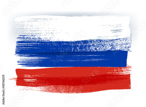 Fotografía  Russia colorful brush strokes painted flag.