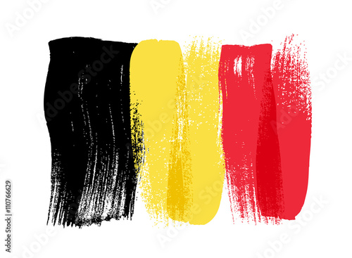 Fotografía Belgium colorful brush strokes painted flag.